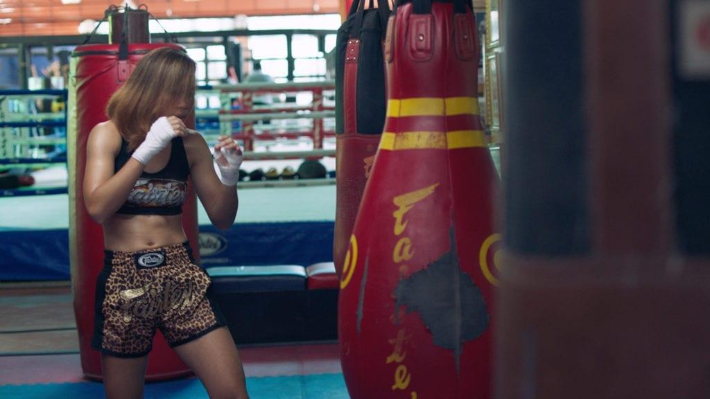 Two-time Muay Thai champion Wondergirl Fairtex in training