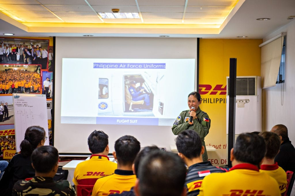 The Philippine Air Force shared the structure of the military with the participants to help them better understand the different military units they will meet during a deployment, as well as how to identify ranking officers.