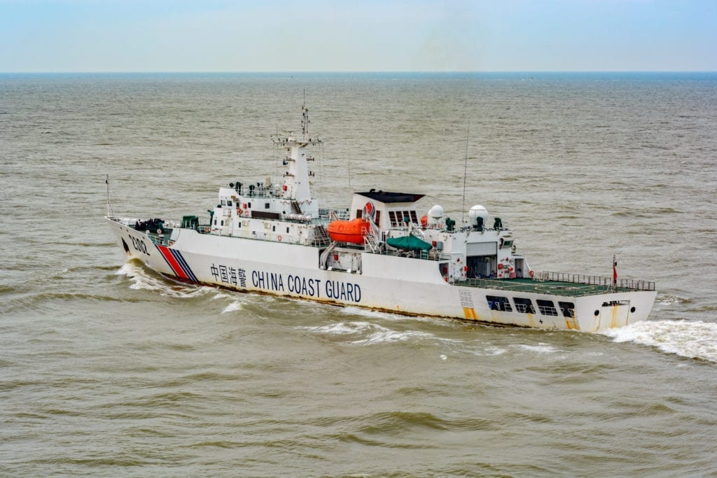 A Chinese Coast Guard vessel patrolling around Senkaku Islands, also known as Diaoyu Islands