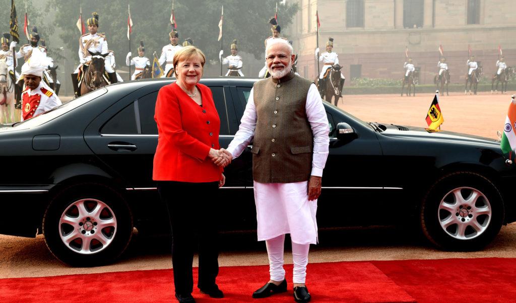 Indian Prime Minister Narendra Modi welcomes the German Chancellor Angela Merkel in New Delhi on November 1, 2019.