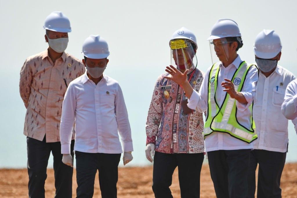 Joko Widodo at a site visit in Indonesia
