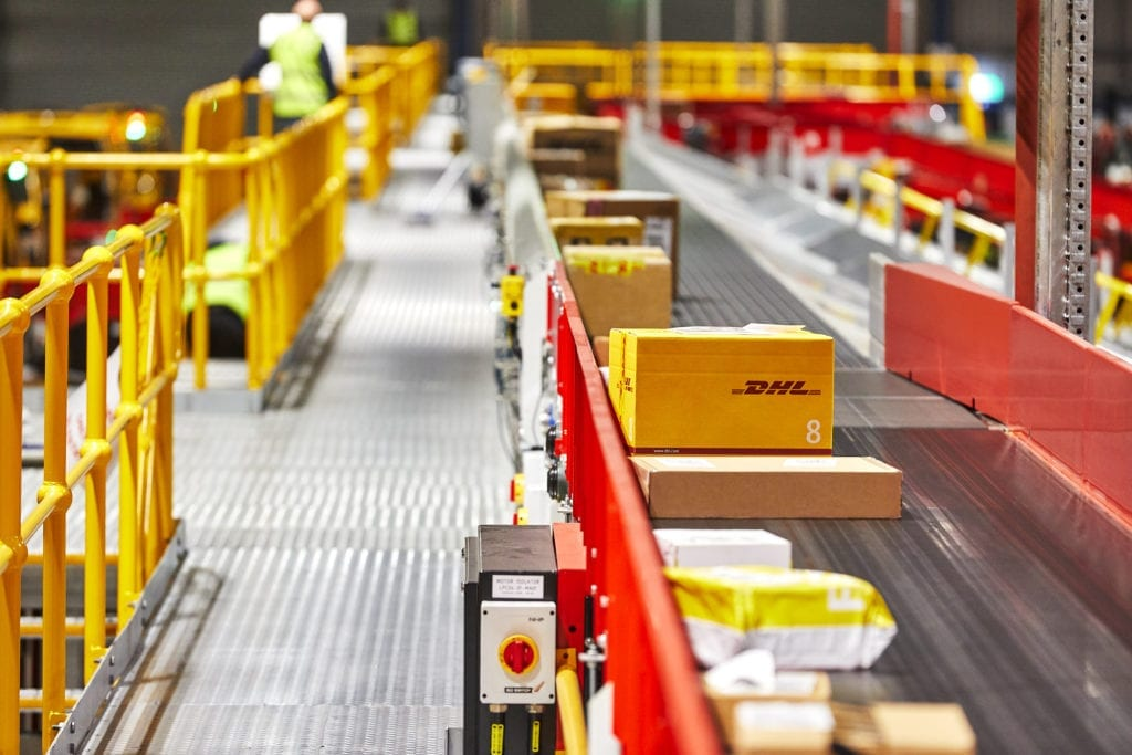 Shipments being processed at DHL Express' Sydney service center