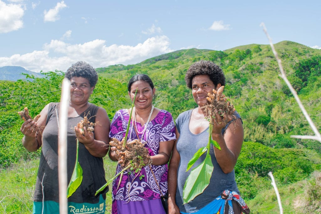 Fijian farmers smiling with their harvest