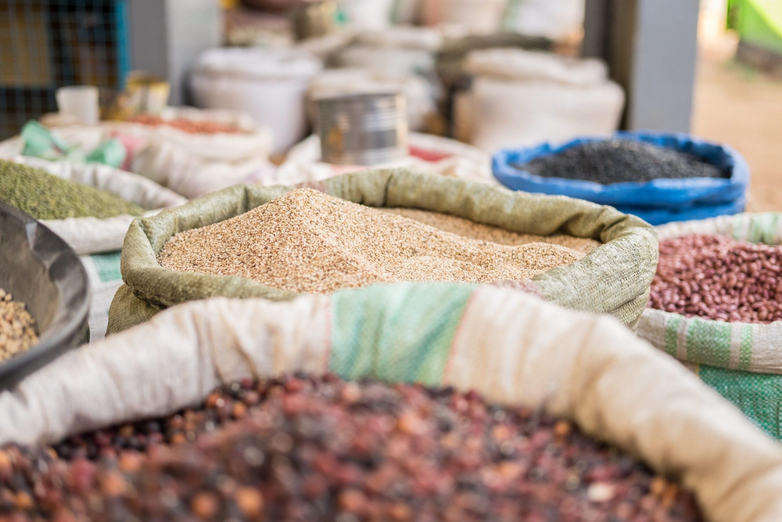 Sacks of grains, including maize, on sale in Busia market, Kenya (Photo: Shutterstock)