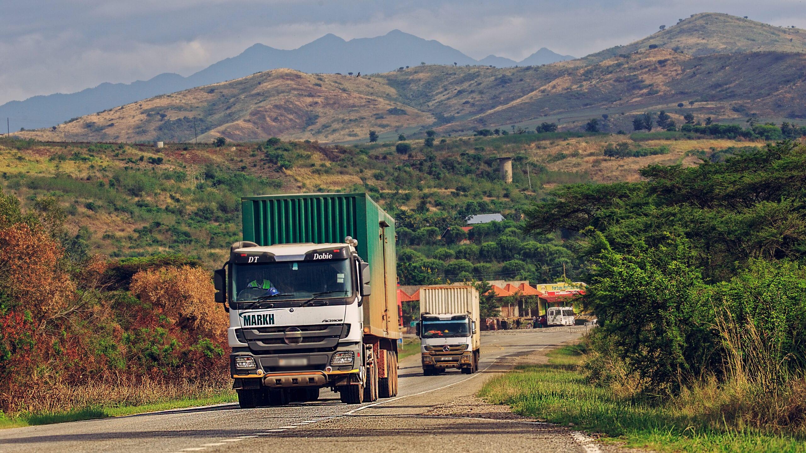 Cargo trucks passing the Uganda border (Photo: Shutterstock)