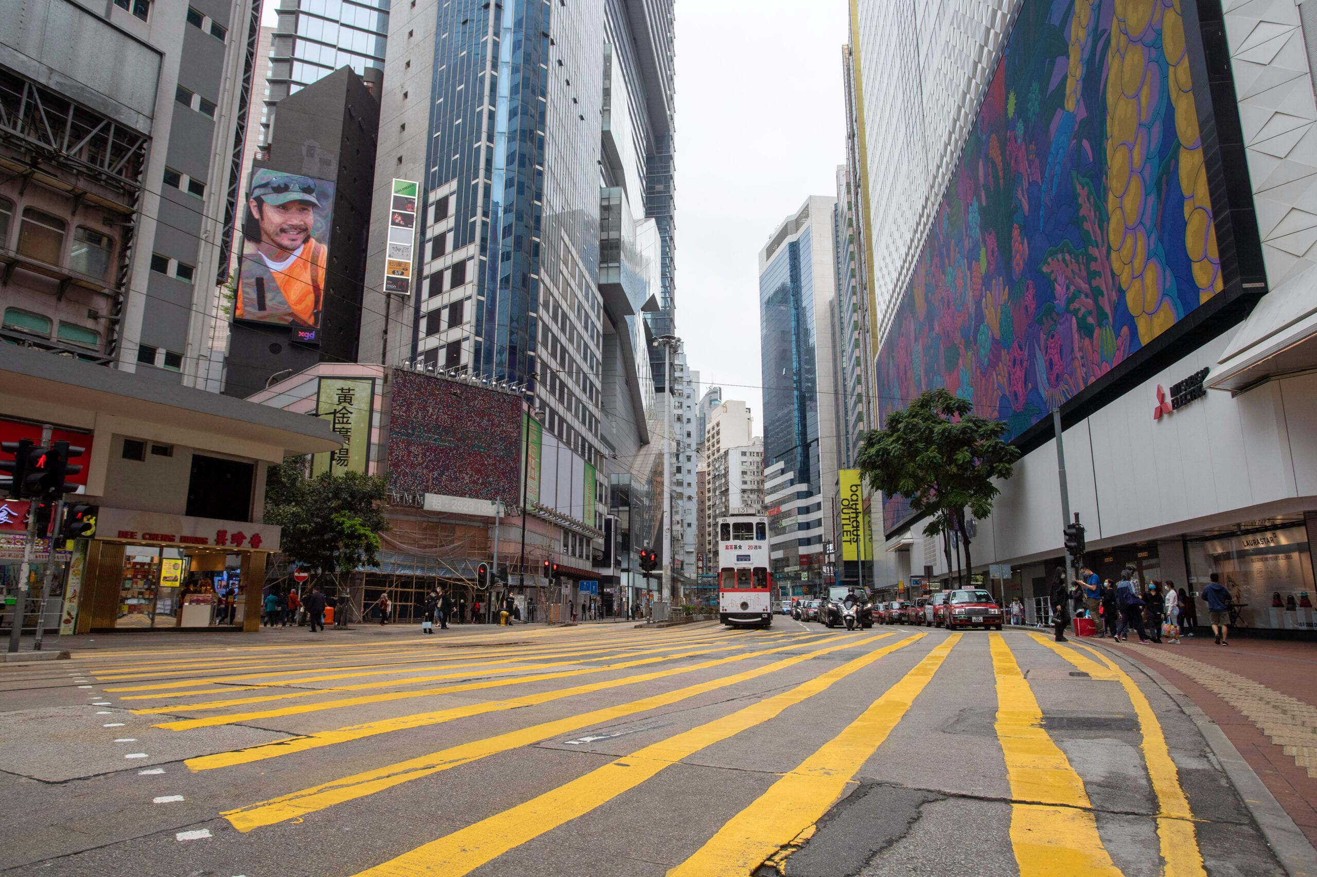 An empty Causeway Bay in Hong Kong during the Covid-19 lockdown last year