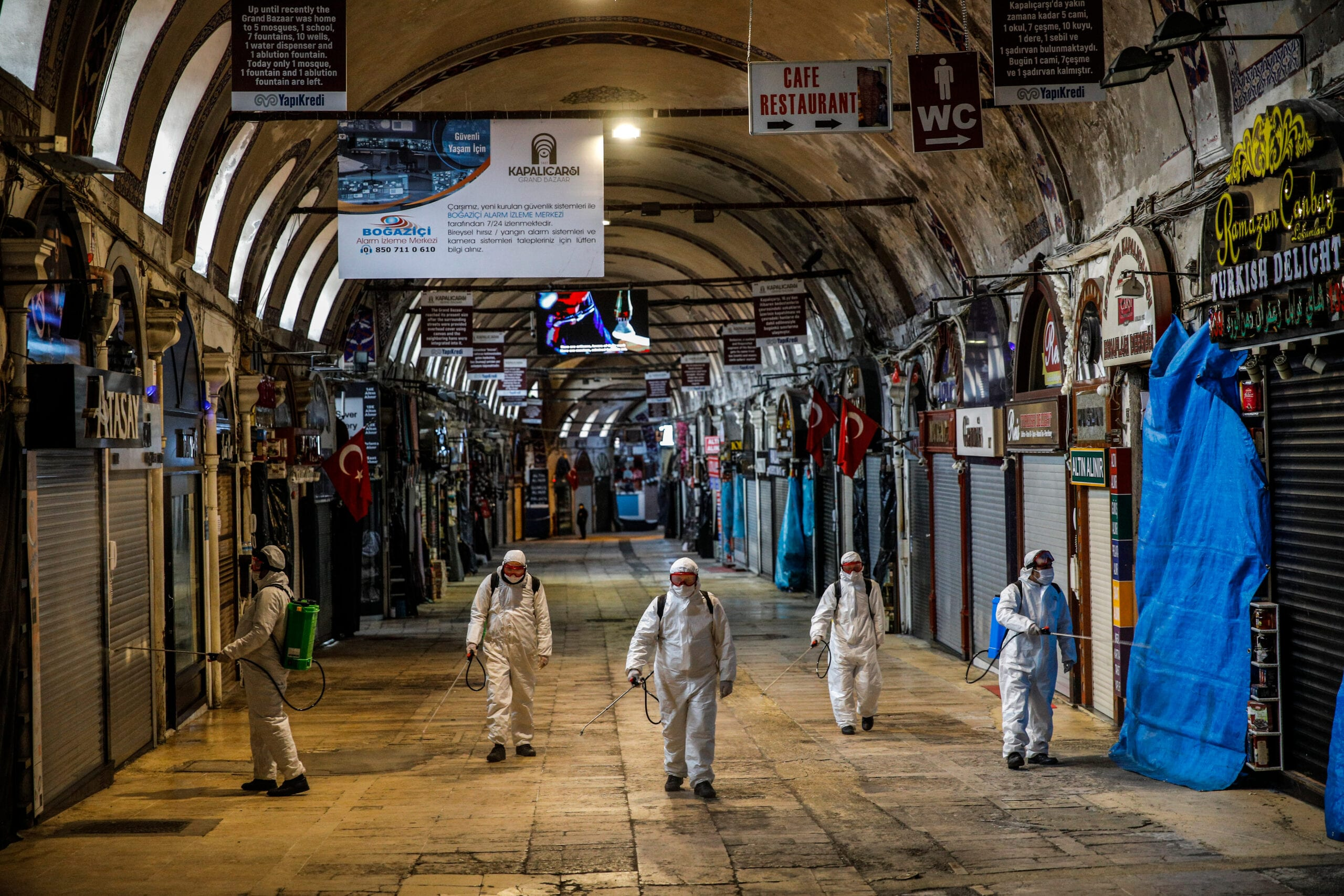Workers spraying disinfectant to prevent the spread of Covid-19 in Istanbul, Turkey last year (Photo: Shutterstock)