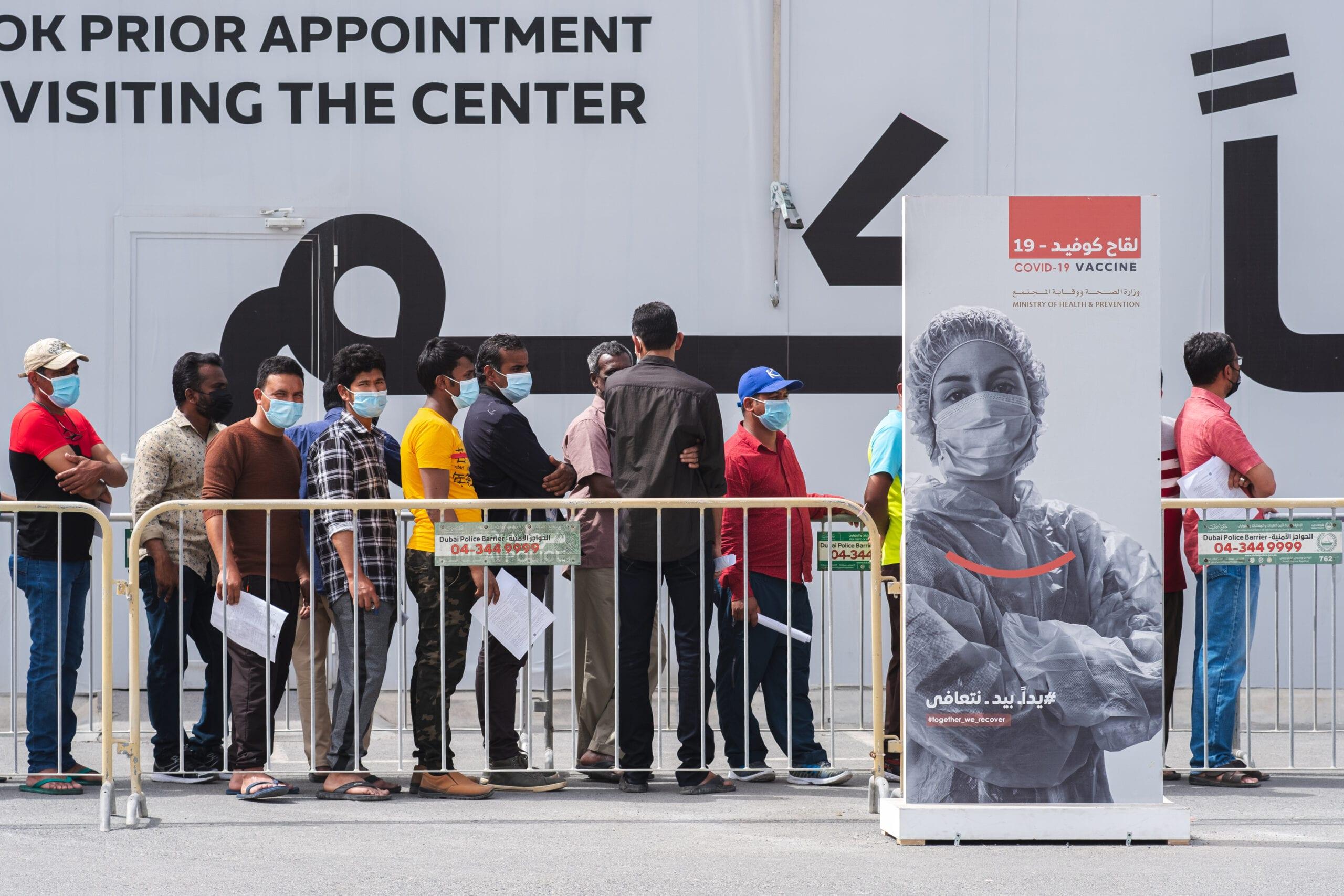 Citizens queuing for the Covid-19 vaccine in Al Wasl, Dubai, UAE (Photo: Shutterstock)